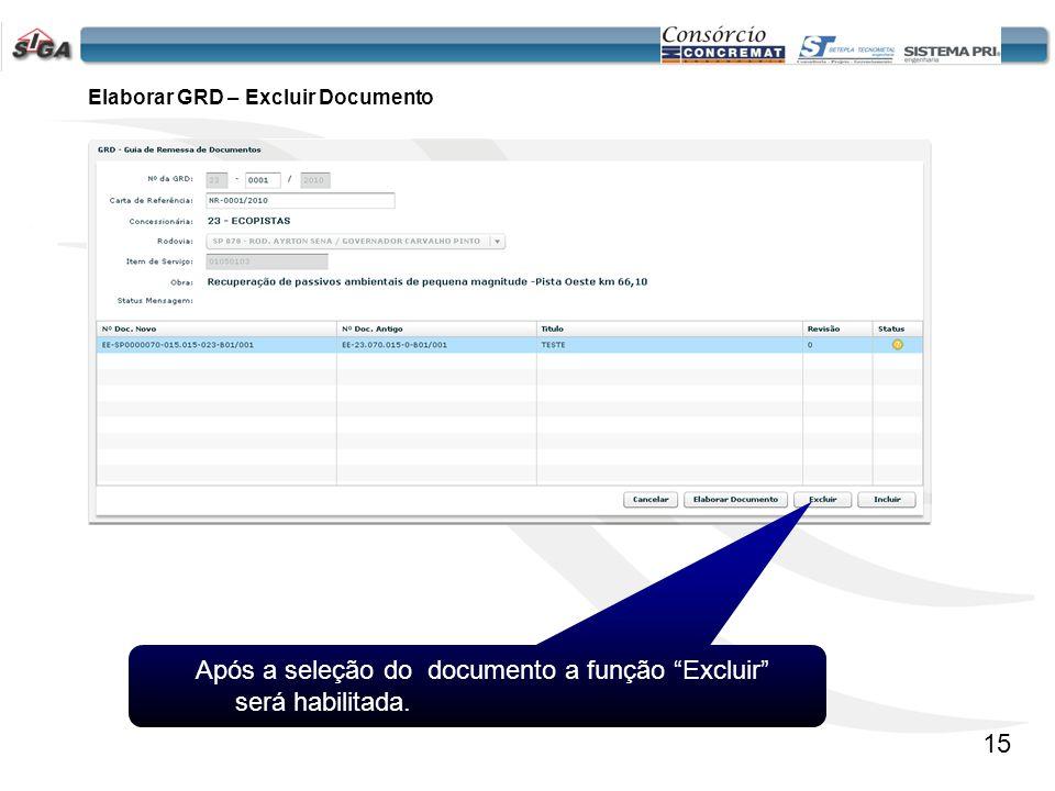 16 Permite a Inclusão da GRD e os seus respectivos Documentos. Elaborar GRD – Incluir GRD