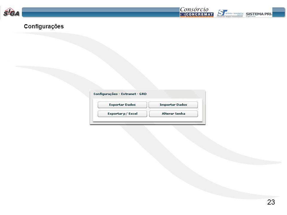 24 Configurações Exportar Dados -Permite ao usuário da Concessão efetuar uma copia de Segurança.