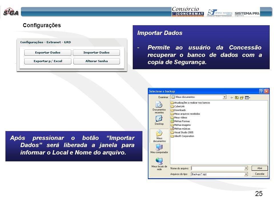 26 Configurações Exportar p/ EXCEL -Permite ao usuário da Concessão exportar um arquivo do Banco de Dados, no formato de Planilha.