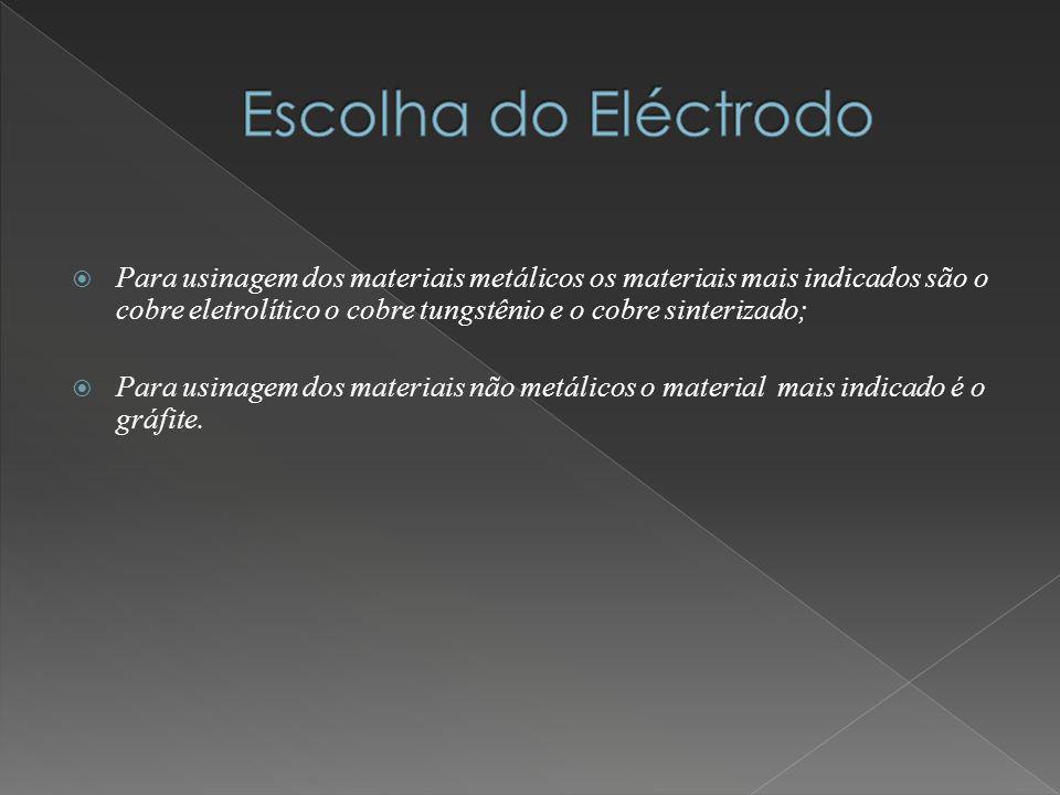 Para usinagem dos materiais metálicos os materiais mais indicados são o cobre eletrolítico o cobre tungstênio e o cobre sinterizado; Para usinagem dos