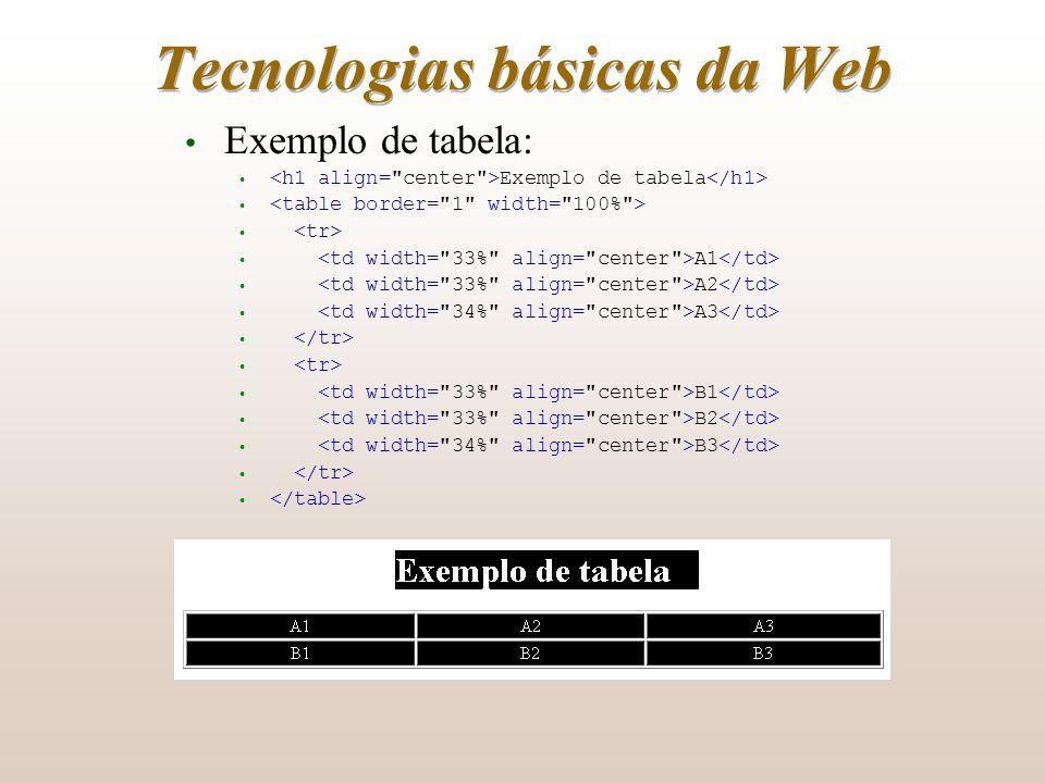 Tecnologias básicas da Web Exemplo de tabela: Exemplo de tabela A1 A2 A3 B1 B2 B3