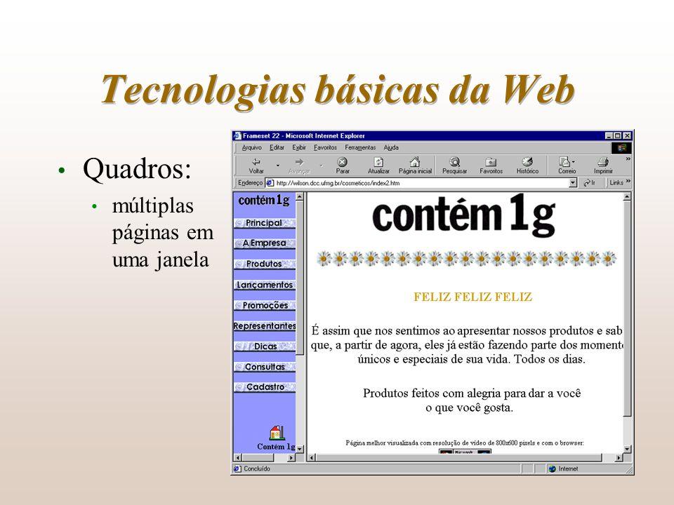 Tecnologias básicas da Web Quadros: múltiplas páginas em uma janela