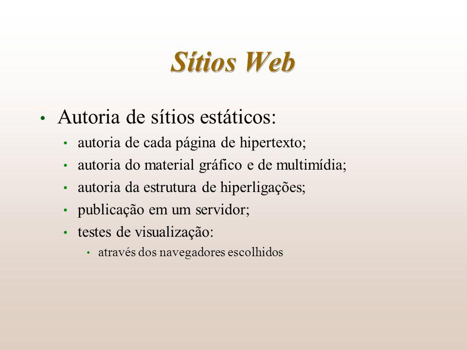 Sítios Web Autoria de sítios estáticos: autoria de cada página de hipertexto; autoria do material gráfico e de multimídia; autoria da estrutura de hip