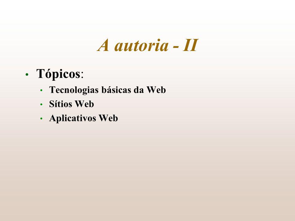 Tópicos: Tecnologias básicas da Web Sítios Web Aplicativos Web