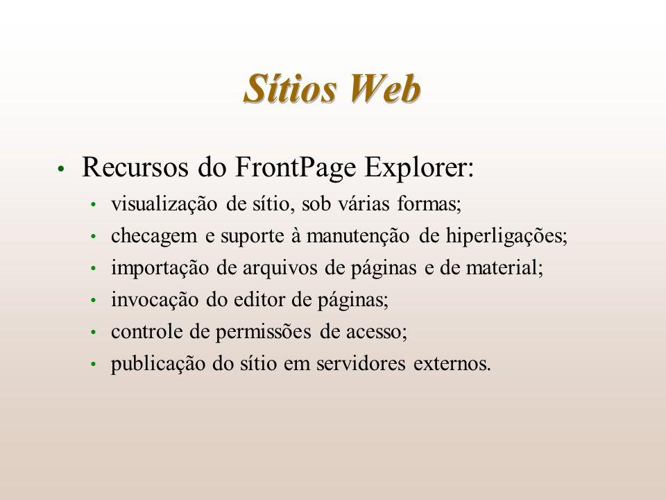 Sítios Web Recursos do FrontPage Explorer: visualização de sítio, sob várias formas; checagem e suporte à manutenção de hiperligações; importação de a