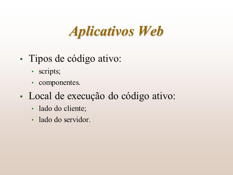 Aplicativos Web Tipos de código ativo: scripts; componentes. Local de execução do código ativo: lado do cliente; lado do servidor.