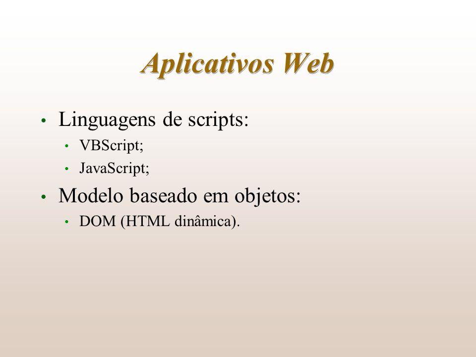 Aplicativos Web Linguagens de scripts: VBScript; JavaScript; Modelo baseado em objetos: DOM (HTML dinâmica).