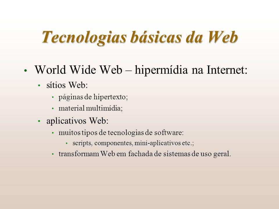 Tecnologias básicas da Web World Wide Web – hipermídia na Internet: sítios Web: páginas de hipertexto; material multimídia; aplicativos Web: muitos ti