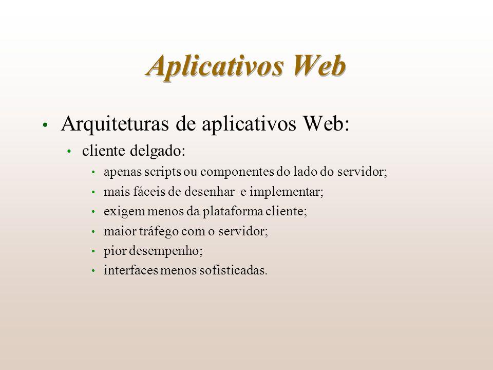 Aplicativos Web Arquiteturas de aplicativos Web: cliente delgado: apenas scripts ou componentes do lado do servidor; mais fáceis de desenhar e impleme