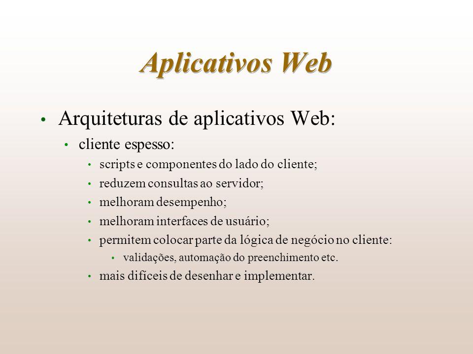 Aplicativos Web Arquiteturas de aplicativos Web: cliente espesso: scripts e componentes do lado do cliente; reduzem consultas ao servidor; melhoram de