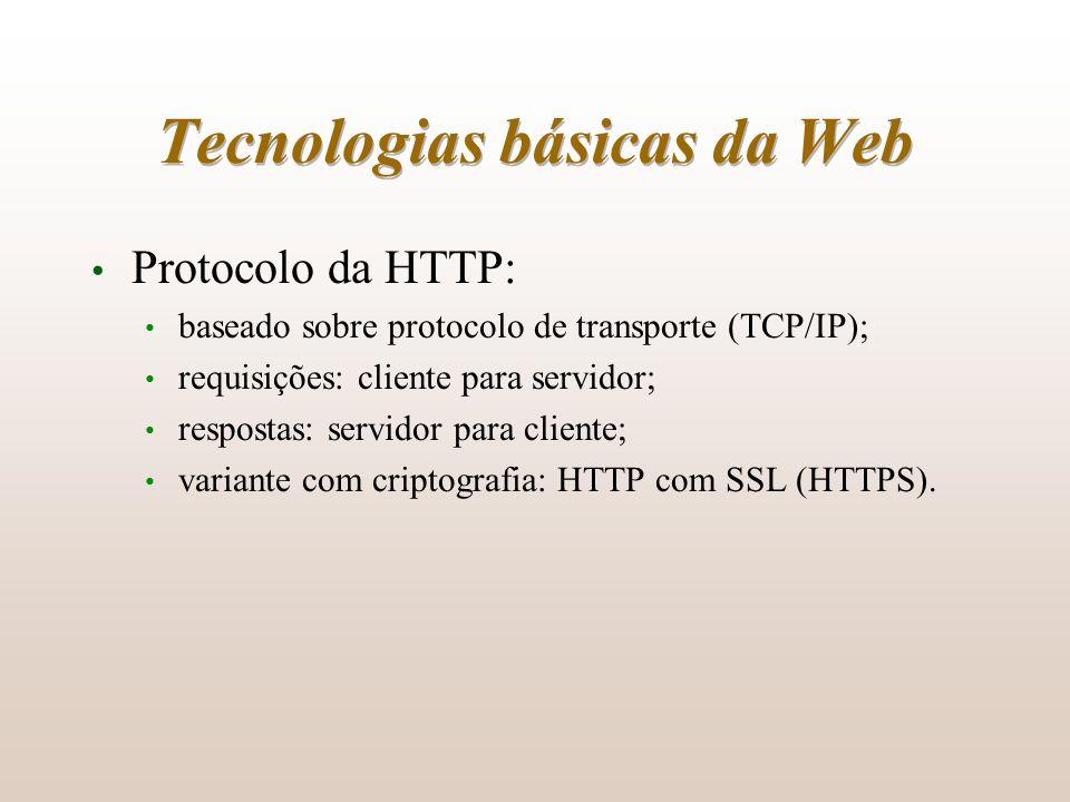 Tecnologias básicas da Web Protocolo da HTTP: baseado sobre protocolo de transporte (TCP/IP); requisições: cliente para servidor; respostas: servidor