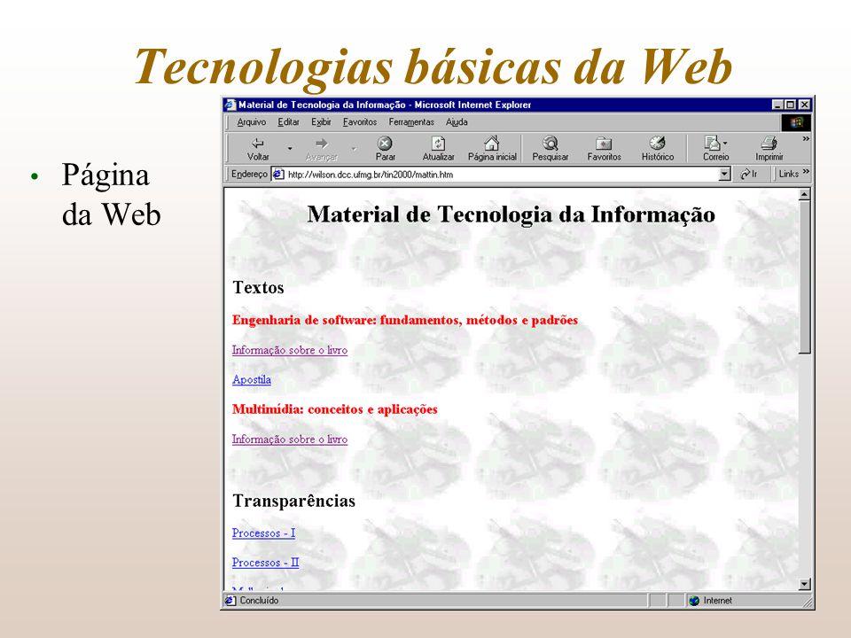 Tecnologias básicas da Web Página da Web