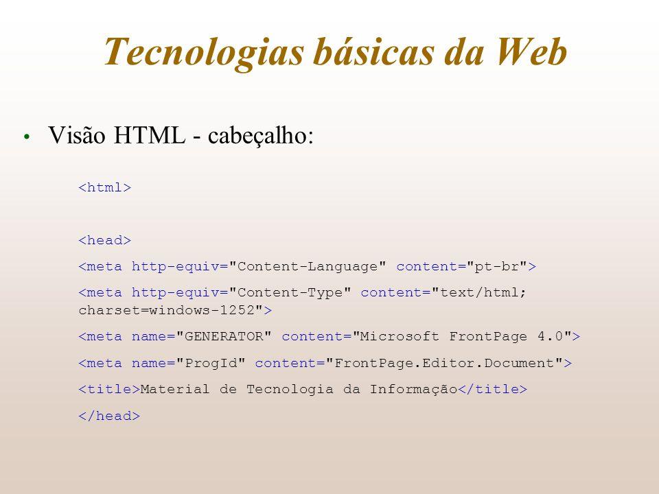 Tecnologias básicas da Web Visão HTML - cabeçalho: Material de Tecnologia da Informação