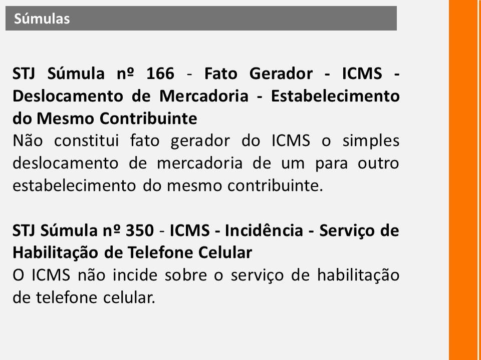 STJ Súmula nº 166 - Fato Gerador - ICMS - Deslocamento de Mercadoria - Estabelecimento do Mesmo Contribuinte Não constitui fato gerador do ICMS o simp