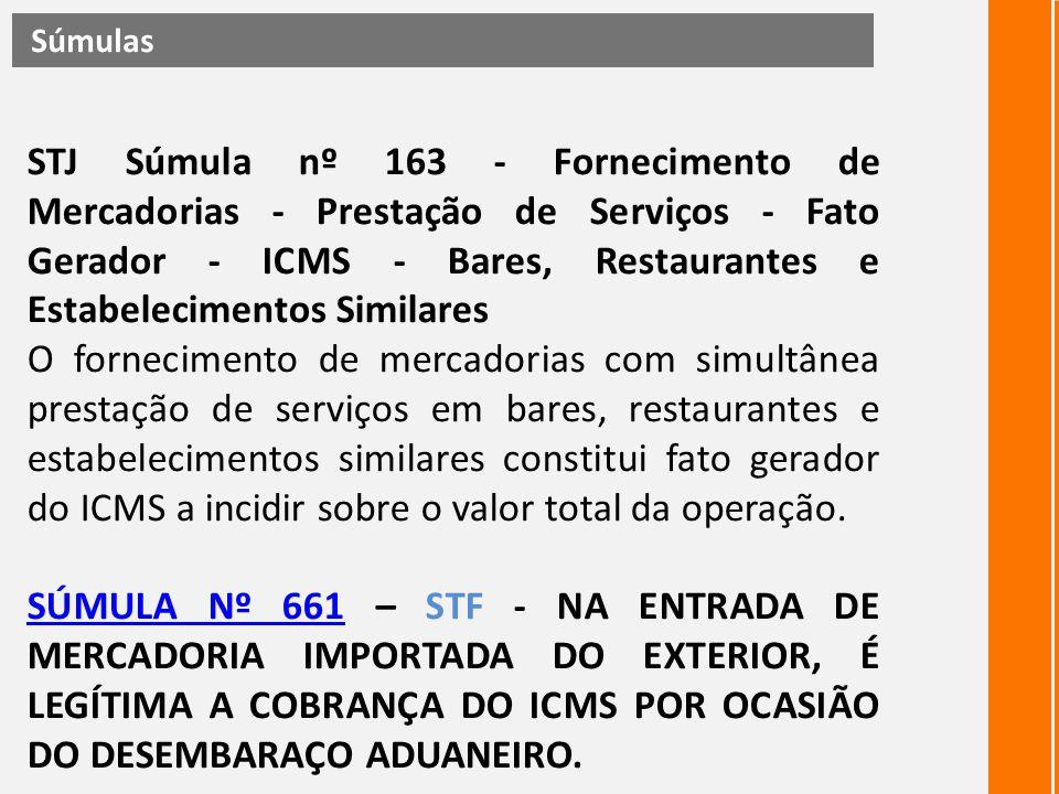 STJ Súmula nº 163 - Fornecimento de Mercadorias - Prestação de Serviços - Fato Gerador - ICMS - Bares, Restaurantes e Estabelecimentos Similares O for
