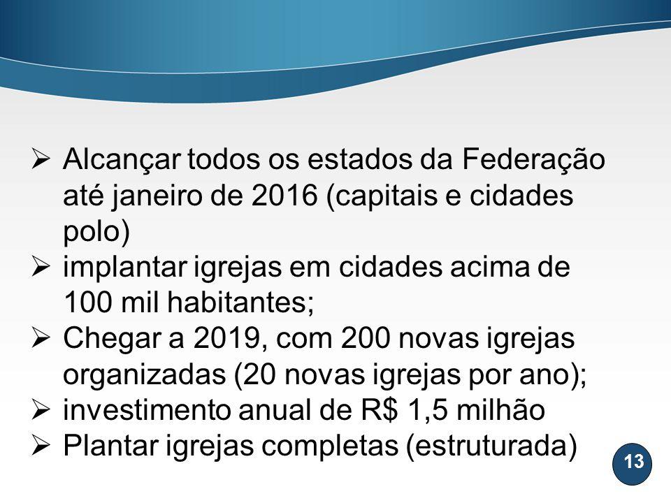 13 Alcançar todos os estados da Federação até janeiro de 2016 (capitais e cidades polo) implantar igrejas em cidades acima de 100 mil habitantes; Cheg