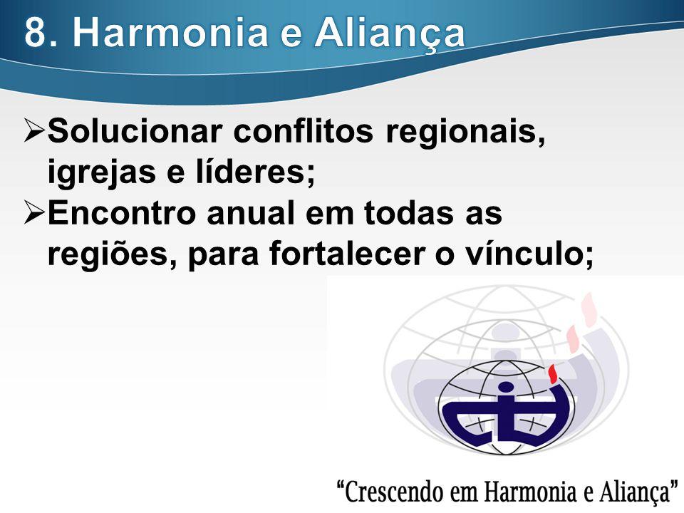 27 Solucionar conflitos regionais, igrejas e líderes; Encontro anual em todas as regiões, para fortalecer o vínculo;