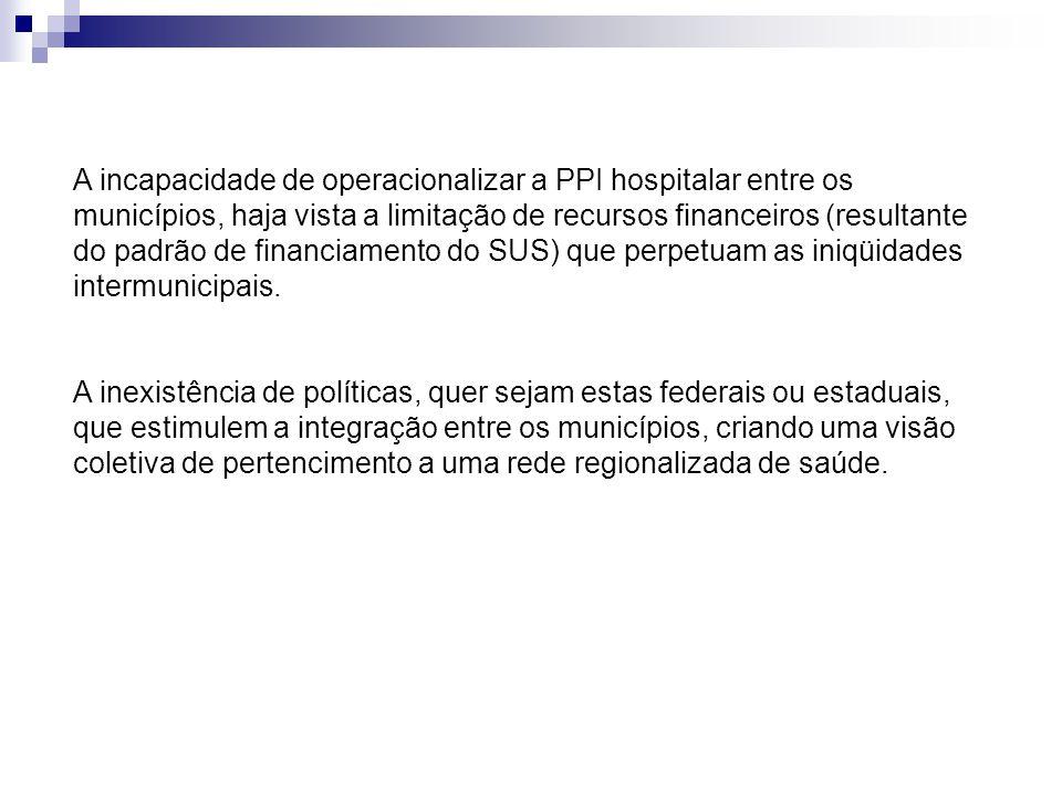 A incapacidade de operacionalizar a PPI hospitalar entre os municípios, haja vista a limitação de recursos financeiros (resultante do padrão de financiamento do SUS) que perpetuam as iniqüidades intermunicipais.