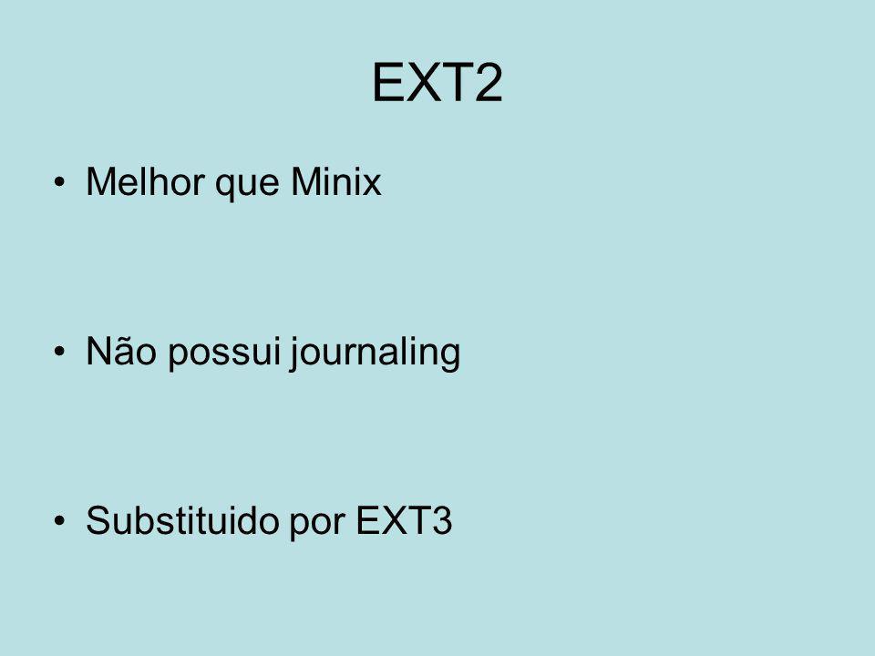 EXT3 Suporta Journaling Estavel, robusto Conversão EXT3/EXT2 ou vice-versa