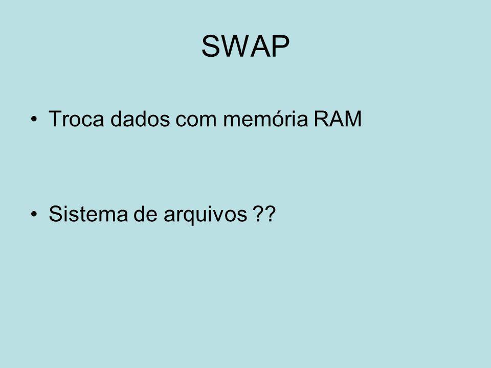 SWAP Troca dados com memória RAM Sistema de arquivos ??