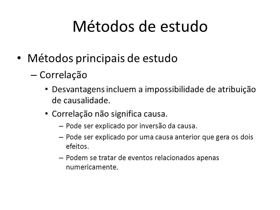 Métodos de estudo Métodos principais de estudo – Correlação Desvantagens incluem a impossibilidade de atribuição de causalidade. Correlação não signif