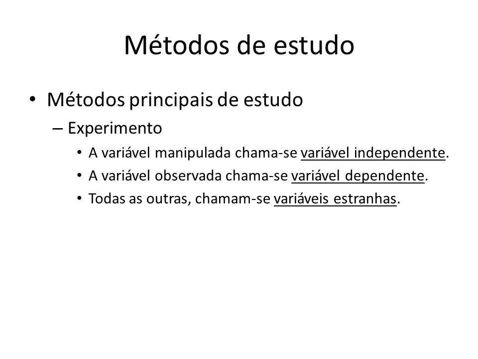 Métodos de estudo Métodos principais de estudo – Experimento A variável manipulada chama-se variável independente. A variável observada chama-se variá