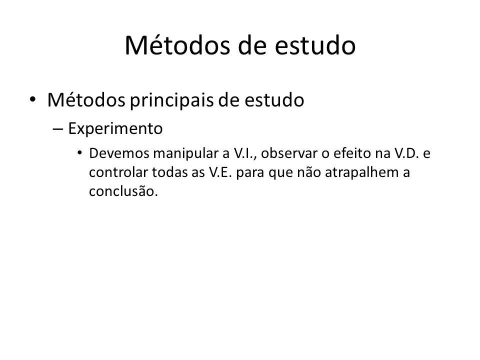 Métodos de estudo Métodos principais de estudo – Experimento Devemos manipular a V.I., observar o efeito na V.D. e controlar todas as V.E. para que nã