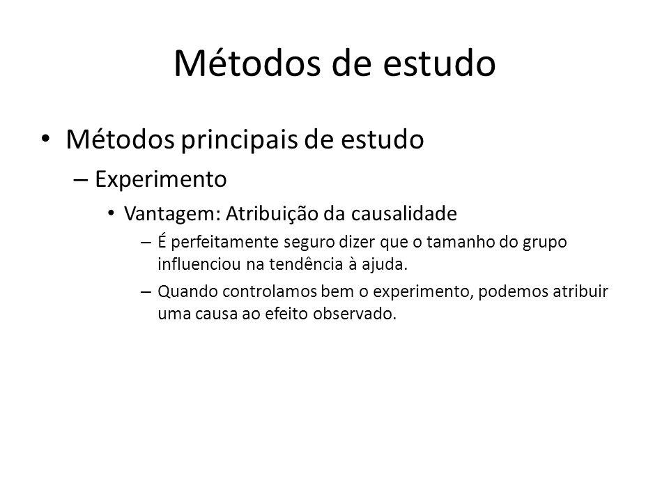 Métodos de estudo Métodos principais de estudo – Experimento Vantagem: Atribuição da causalidade – É perfeitamente seguro dizer que o tamanho do grupo