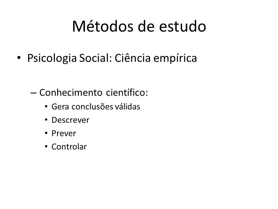 Métodos de estudo Psicologia Social: Ciência empírica – Conhecimento científico: Gera conclusões válidas Descrever Prever Controlar