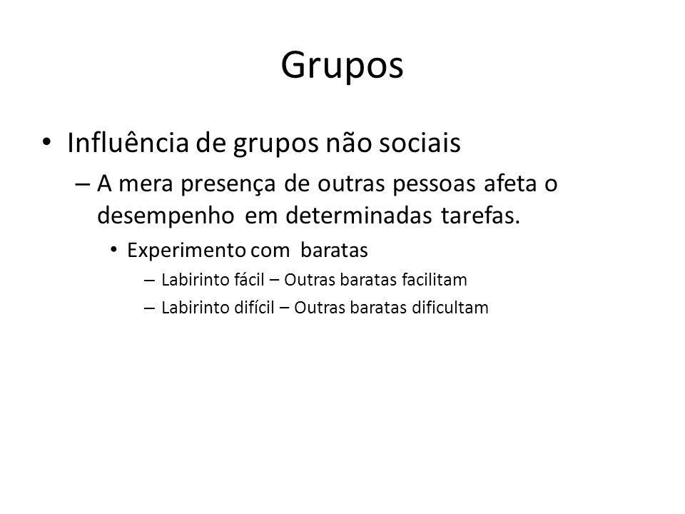 Grupos Influência de grupos não sociais – A mera presença de outras pessoas afeta o desempenho em determinadas tarefas. Experimento com baratas – Labi