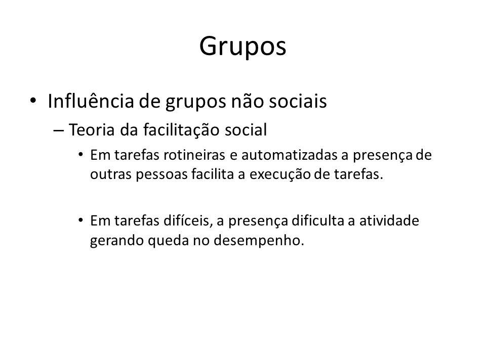 Grupos Influência de grupos não sociais – Teoria da facilitação social Em tarefas rotineiras e automatizadas a presença de outras pessoas facilita a e