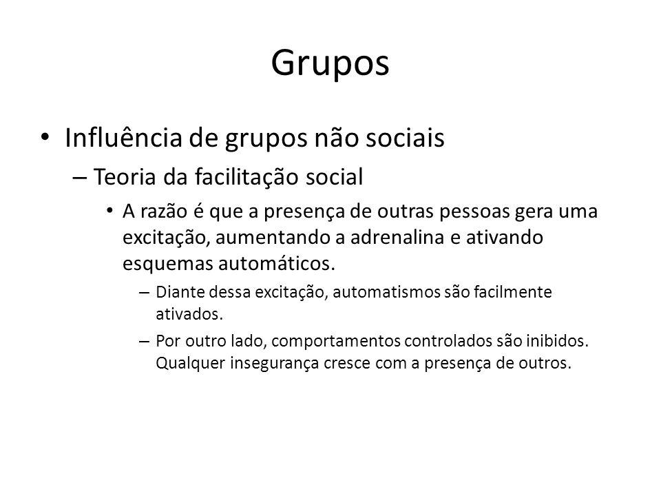 Grupos Influência de grupos não sociais – Teoria da facilitação social A razão é que a presença de outras pessoas gera uma excitação, aumentando a adr