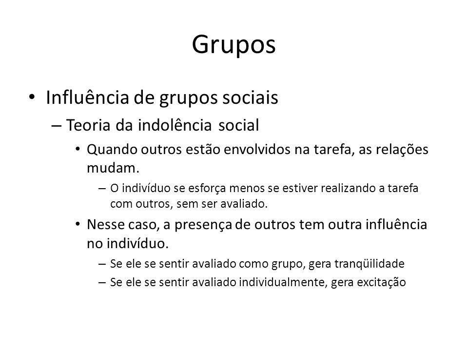 Grupos Influência de grupos sociais – Teoria da indolência social Quando outros estão envolvidos na tarefa, as relações mudam. – O indivíduo se esforç