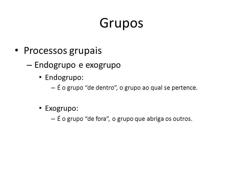 Grupos Processos grupais – Endogrupo e exogrupo Endogrupo: – É o grupo de dentro, o grupo ao qual se pertence. Exogrupo: – É o grupo de fora, o grupo