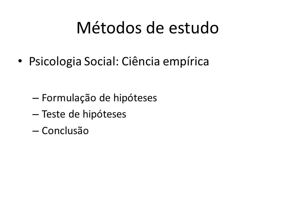 Métodos de estudo Psicologia Social: Ciência empírica – Formulação de hipóteses – Teste de hipóteses – Conclusão