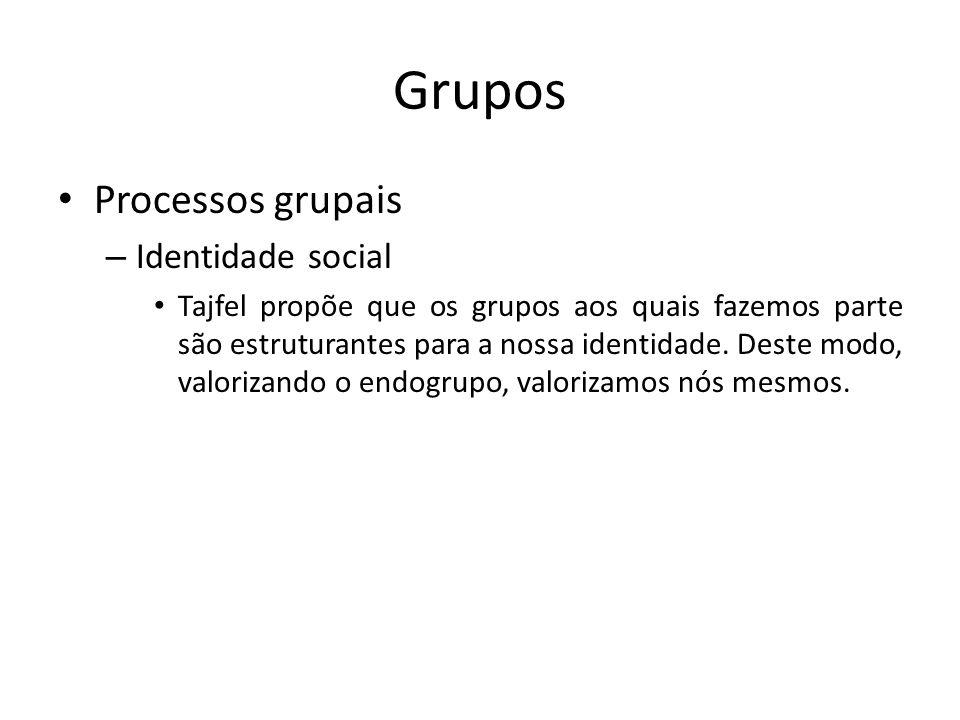 Grupos Processos grupais – Identidade social Tajfel propõe que os grupos aos quais fazemos parte são estruturantes para a nossa identidade. Deste modo