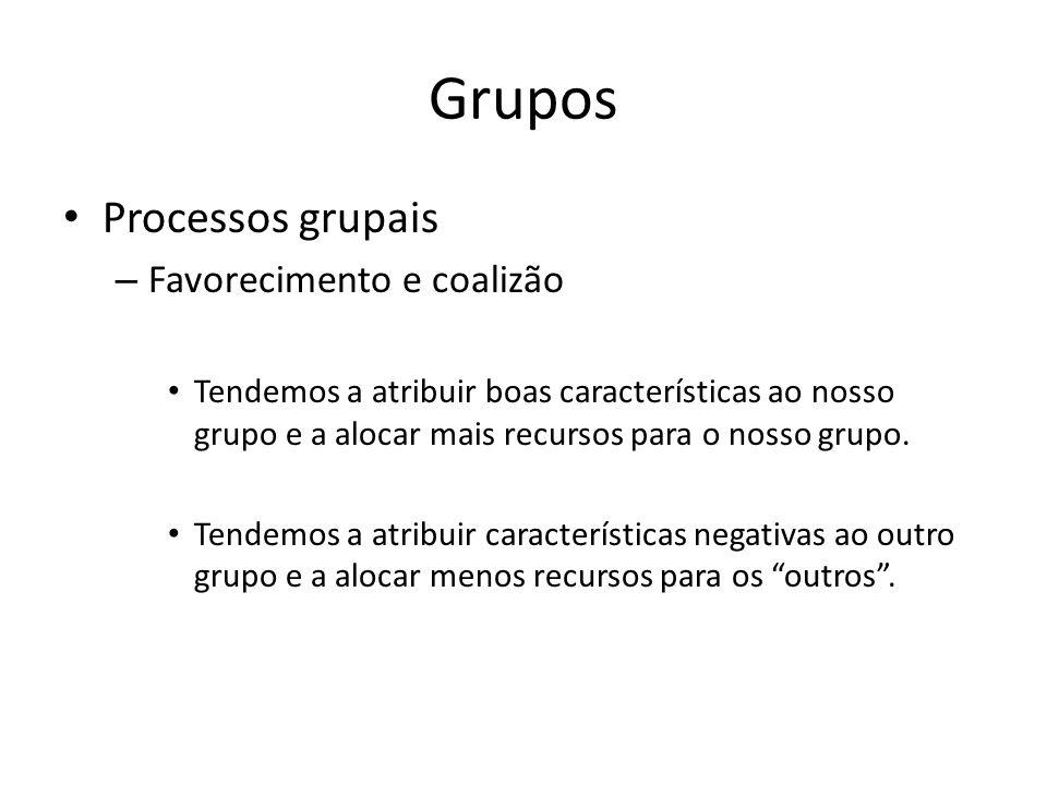 Grupos Processos grupais – Favorecimento e coalizão Tendemos a atribuir boas características ao nosso grupo e a alocar mais recursos para o nosso grup