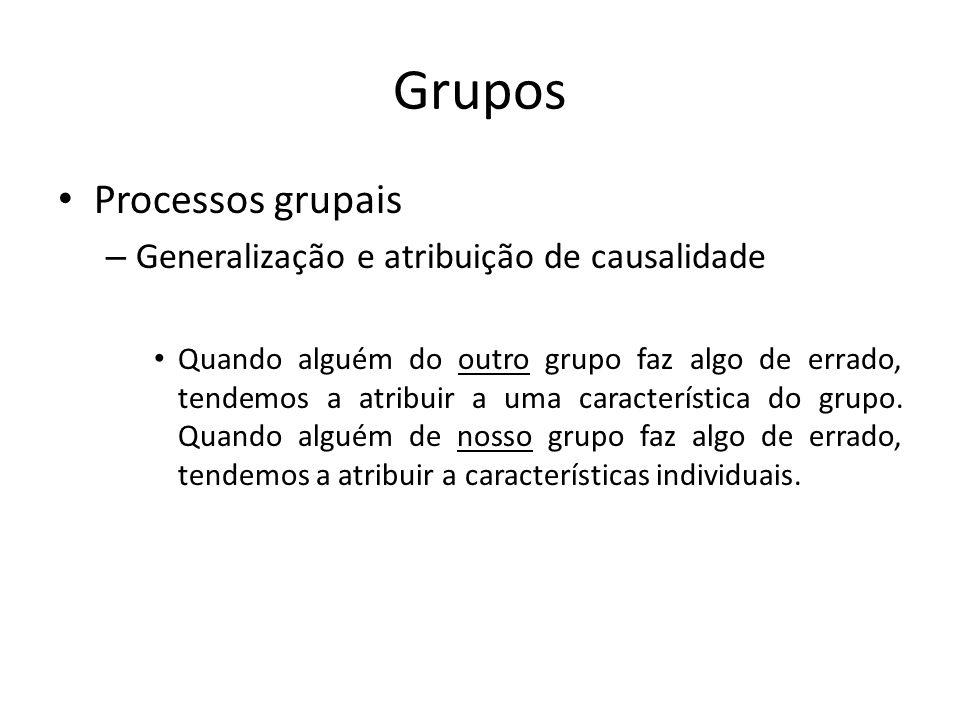 Grupos Processos grupais – Generalização e atribuição de causalidade Quando alguém do outro grupo faz algo de errado, tendemos a atribuir a uma caract