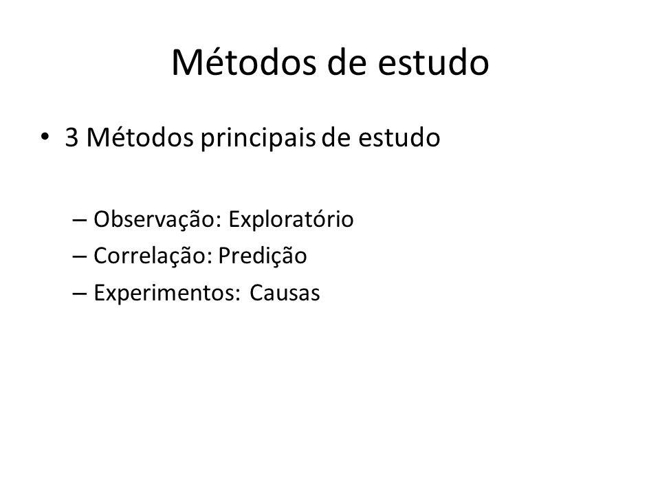 Métodos de estudo 3 Métodos principais de estudo – Observação: Exploratório – Correlação: Predição – Experimentos: Causas