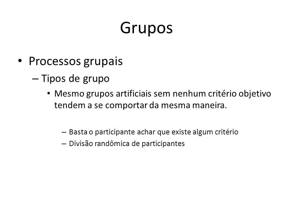 Grupos Processos grupais – Tipos de grupo Mesmo grupos artificiais sem nenhum critério objetivo tendem a se comportar da mesma maneira. – Basta o part