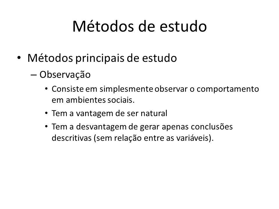Métodos de estudo Métodos principais de estudo – Observação Consiste em simplesmente observar o comportamento em ambientes sociais. Tem a vantagem de