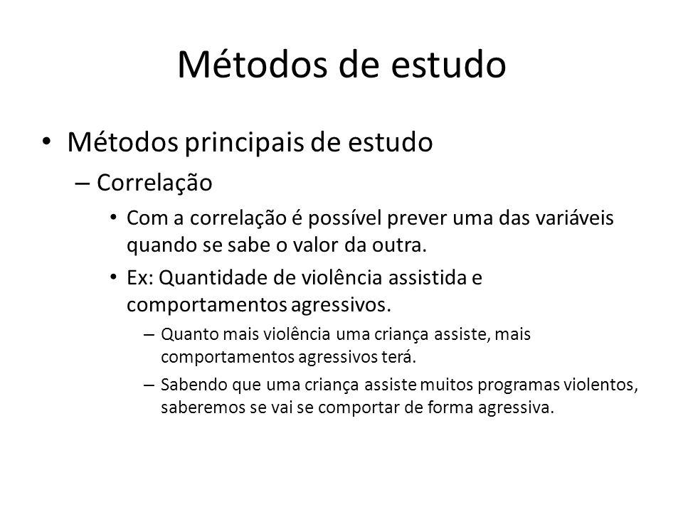 Métodos de estudo Métodos principais de estudo – Correlação Com a correlação é possível prever uma das variáveis quando se sabe o valor da outra. Ex: