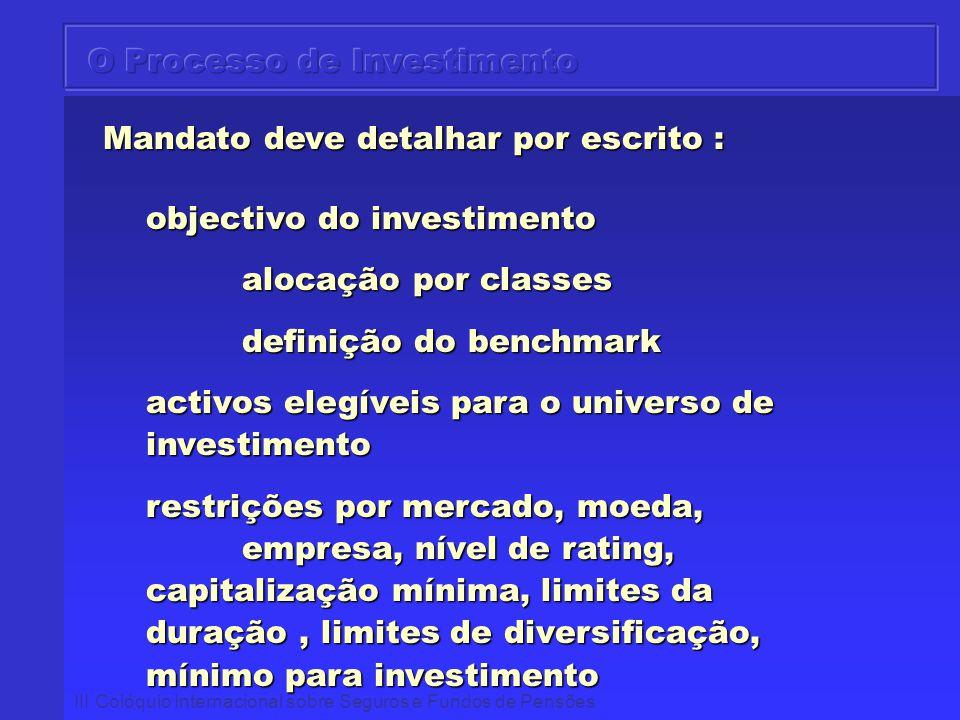 III Colóquio Internacional sobre Seguros e Fundos de Pensões Mandato deve detalhar por escrito : Mandato deve detalhar por escrito : objectivo do inve