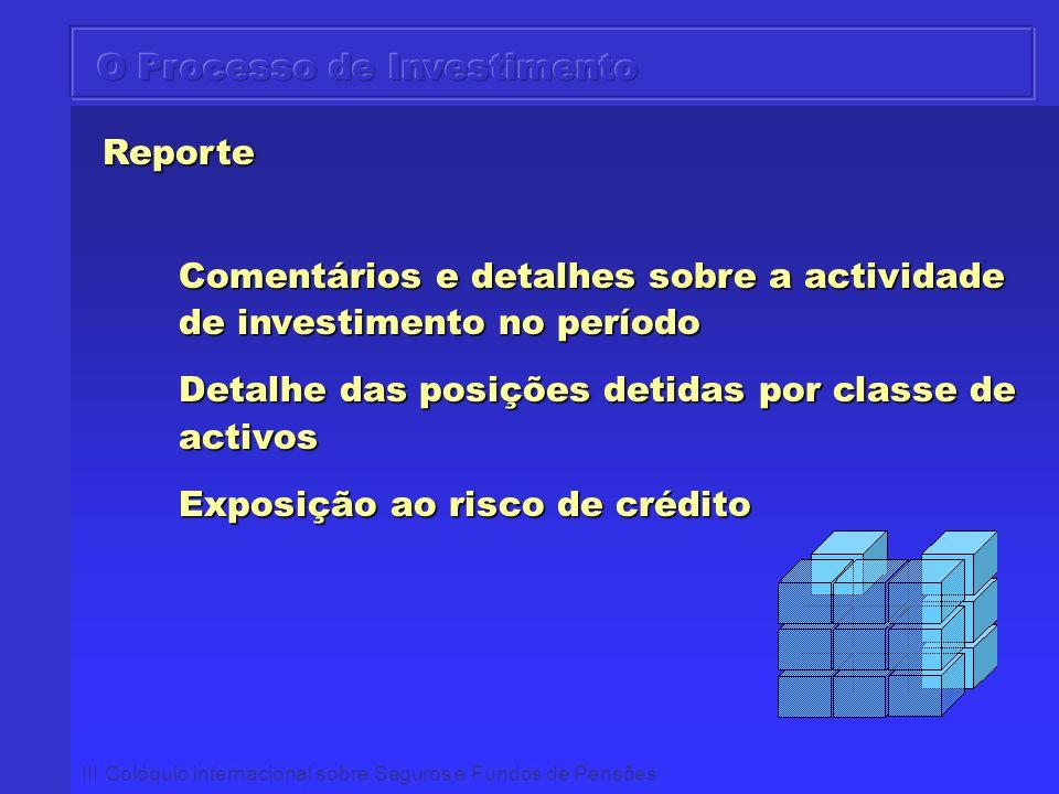 III Colóquio Internacional sobre Seguros e Fundos de Pensões Reporte Reporte Comentários e detalhes sobre a actividade de investimento no período Deta