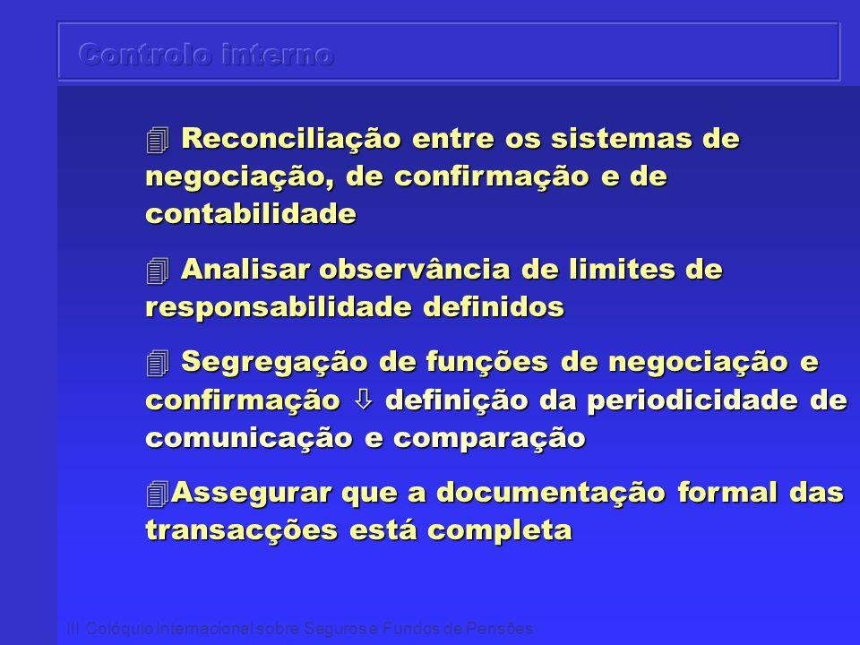 III Colóquio Internacional sobre Seguros e Fundos de Pensões 4 Reconciliação entre os sistemas de negociação, de confirmação e de contabilidade 4 Anal