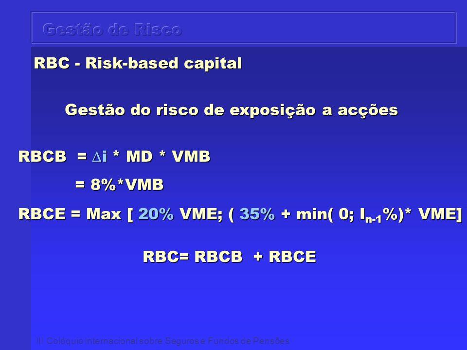 III Colóquio Internacional sobre Seguros e Fundos de Pensões RBC - Risk-based capital RBC - Risk-based capital Gestão do risco de exposição a acções R
