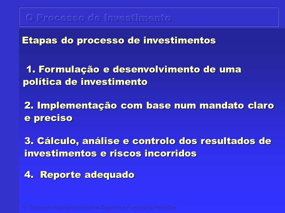 III Colóquio Internacional sobre Seguros e Fundos de Pensões Etapas do processo de investimentos 1. Formulação e desenvolvimento de uma política de in