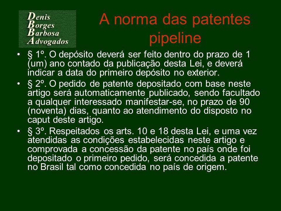 A norma das patentes pipeline § 1º. O depósito deverá ser feito dentro do prazo de 1 (um) ano contado da publicação desta Lei, e deverá indicar a data