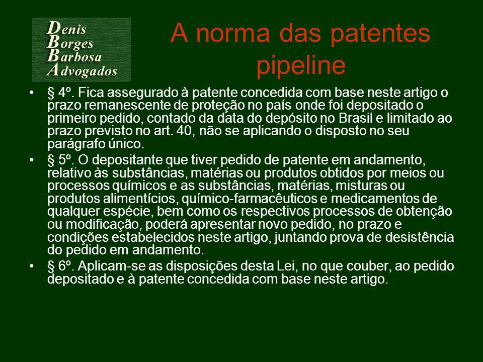 A norma das patentes pipeline § 4º. Fica assegurado à patente concedida com base neste artigo o prazo remanescente de proteção no país onde foi deposi