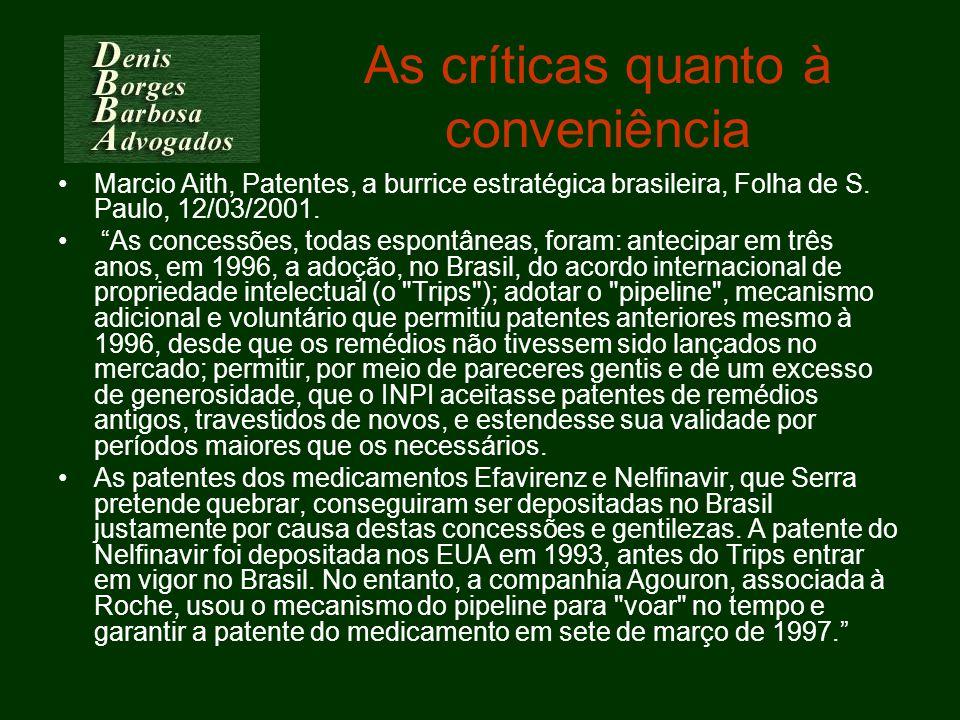 As críticas quanto à conveniência Marcio Aith, Patentes, a burrice estratégica brasileira, Folha de S. Paulo, 12/03/2001. As concessões, todas espontâ
